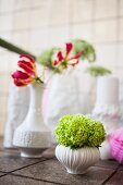 Flowers in white, retro china vases