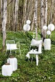 White wire chairs, side table and lanterns of various shapes in woodland clearing carpeted in wood anemones