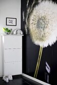 Dandelion clock photo wallpaper next to wall-mounted shoe cabinet in hallway