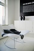 White Stingray rocking chair in corner of modern living room