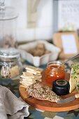 Breakfast on wooden board