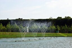 Fountains in a pond in the garden of the palace of Versailles