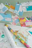 Envelopes hand crafted from gift wrap, wallpaper remnants and maps