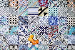 Colourful tiles with mixture of patterns