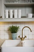 Twin sink with vintage brass taps below crockery on pale grey wall-mounted shelves