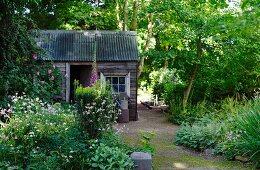 Rustikaler Gartenschuppen in blühendem Garten