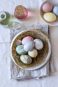 Easter nest of eggs dyed using natural dyes