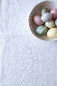 Bowl of eggs dyed using natural materials