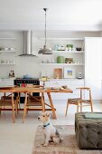 Dog sitting on rug in front of pouffe with dining area in open-plan kitchen in background