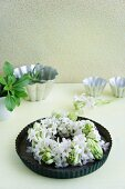 Wreath of white hyacinths