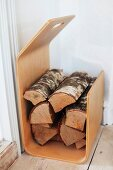 Laminated wood firewood rack
