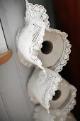 Lace toilet roll holder