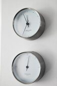 Matching clock and thermometer in modern, maritime design