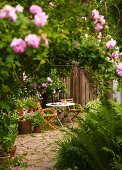 Table and wooden chairs on terrace in front of wooden fence in garden full of flowering roses