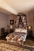 French canopy bed in toile de jouy fabric