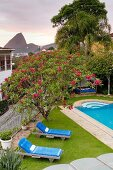 View down into garden with pool, loungers with blue cushions, lawn and flowering oleander against the backdrop of Sugarloaf Mountain in Rio de Janeiro, Brazil