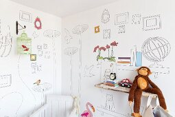 Wallpaper with pattern of line drawings in child's bedroom with monkey soft toy on rustic wooden shelf