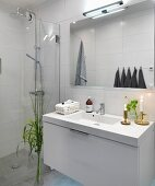 Designer washstand and glass wall screening rainfall shower in minimalist bathroom