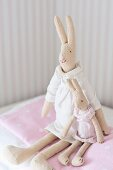 Old-fashioned rabbit soft toys