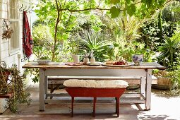 Bench with seat cushion at rustic table on terrace; tropical plants in sunny garden in background