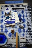 Batik fabric and stamped cards in blue and white