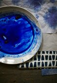 Bowl of mixed indigo dye