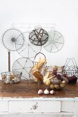 Decorative kitchen containers, dishes and baskets made from wire