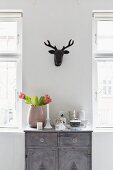 Vase of proteas and crockery on grey, vintage cabinet below black, stylised hunting trophy on wall