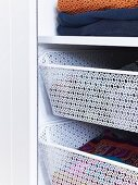 Practical open drawers in a wardrobe