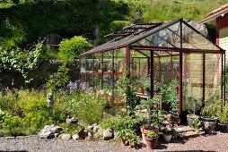 Gewächshaus in sommerlichem Garten mit bepflanzten Blumentöpfen und kleinem Gartenteich