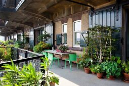 Lush greenery on urban balcony with various planters and seating area against loft-apartment façade