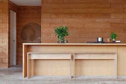 Minimalist wooden kitchen counter and benches in front of wood-clad wall