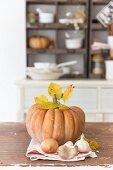 Autumnal still-life arrangement with pumpkin, autumn leaves, onions and garlic