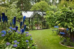 Blue chairs, decorative bottles and blue hydrangeas in garden with greenhouse