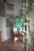 Painting of leaves in studio