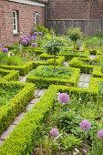Labyrinthgarten aus Formhecken und blühendem Zierlauch