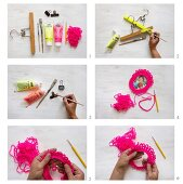 Making picture frames from a clothes hanger and crocheted loop
