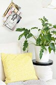 Yellow and white patterned scatter cushion on armchair next to house plant on black plant stand
