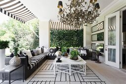 Elegant outdoor living area on roofed terrace