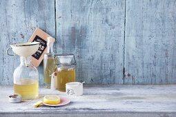 Homemade elderflower syrup