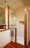 Floor-level shower cabinet with screen and partially visible washstand