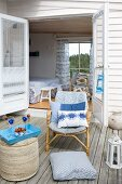 Comfortable seating area on maritime-style wooden terrace