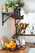 Plants on bracket shelf above kitchen counter with basket of oranges on wooden worksurface