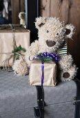 Christmas presents and teddy bear