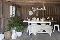 White table and bench with white sheepskins next to small potted Christmas trees in wooden house
