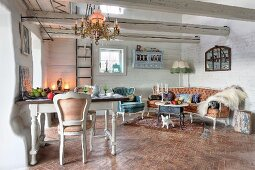Eclectic rustic country house - white chairs around dining table and Rococo seating in lounge area