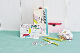 Postcards and letter decorated with colourful washi tape