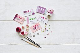 Hand-made business cards decorate with stars and washi tape