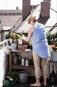 Woman planting up terracotta pots on potting bench on roof terrace