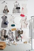 Wallpaper printed with photos of dresses as a way of displaying handbags